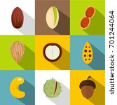 mix of different nuts icons set.... | Shutterstock .eps vector #701244064