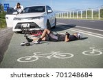 accident car crash bicycle on... | Shutterstock . vector #701248684