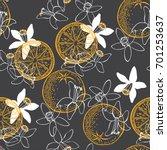 orange fruit and blossom.... | Shutterstock .eps vector #701253637