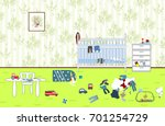 kids untidy and messy room.... | Shutterstock .eps vector #701254729