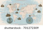 hand drawn vector world map... | Shutterstock .eps vector #701272309