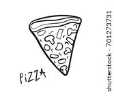pizza in hand drawn doodle...   Shutterstock .eps vector #701273731