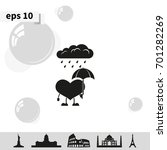 toy heart walk in the rain.... | Shutterstock .eps vector #701282269