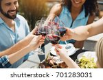 group of friends having... | Shutterstock . vector #701283031