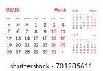 wall quarter calendar 2018.... | Shutterstock .eps vector #701285611