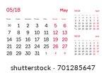 wall quarter calendar 2018.... | Shutterstock .eps vector #701285647