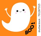 flying ghost spirit boo happy... | Shutterstock .eps vector #701287315
