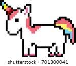 rainbow unicorn pixel art... | Shutterstock .eps vector #701300041