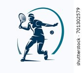 tennis player stylized vector... | Shutterstock .eps vector #701302579