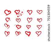 hand drawn hearts. design... | Shutterstock .eps vector #701304559