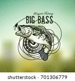 bass fishing emblem on blur... | Shutterstock .eps vector #701306779