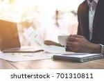 business man accountant working ... | Shutterstock . vector #701310811