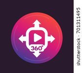 360 degrees panoramic video icon | Shutterstock .eps vector #701311495