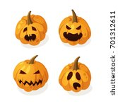 set of cartoon scary pumpkin... | Shutterstock .eps vector #701312611