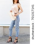young stylish woman wearing...   Shutterstock . vector #701317141
