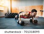 muscular bearded man doing push ... | Shutterstock . vector #701318095