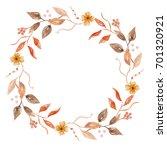 watercolor flower autumn fall... | Shutterstock . vector #701320921