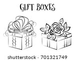 holiday gift boxes with bow and ... | Shutterstock .eps vector #701321749