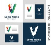 editable business card template ... | Shutterstock .eps vector #701331745
