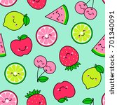 cute tropical fruit cartoon... | Shutterstock .eps vector #701340091