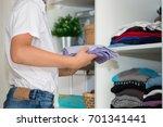 the european blond boy teenager ... | Shutterstock . vector #701341441