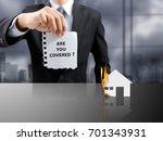 businessman present insurance...   Shutterstock . vector #701343931