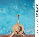 top view of woman in straw hat... | Shutterstock . vector #701346955