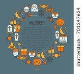 cartoon halloween concept in...   Shutterstock .eps vector #701347624