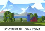 cartoon pixel countryside.... | Shutterstock . vector #701349025