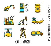 vector set of linear oil icons  ... | Shutterstock .eps vector #701349349