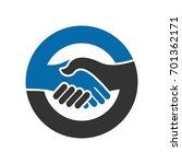 handshake vector logo. shaking... | Shutterstock .eps vector #701362171