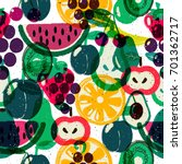 fruits seamless pattern.... | Shutterstock .eps vector #701362717