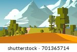 stylized countryside cartoon. | Shutterstock . vector #701365714