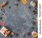 autumn composition. gift ... | Shutterstock . vector #701371927