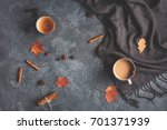 autumn composition. cup of... | Shutterstock . vector #701371939
