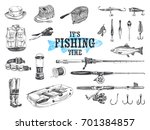 vector hand drawn fishing set ... | Shutterstock .eps vector #701384857