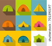 camping tent icons set. flat... | Shutterstock .eps vector #701390197