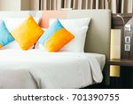 pillow on bed decoration... | Shutterstock . vector #701390755