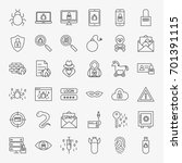 cyber security line icons.... | Shutterstock .eps vector #701391115