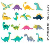 funny cartoon dinosaurs... | Shutterstock .eps vector #701391199