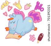 set of stickers funny unicorn   Shutterstock . vector #701392321