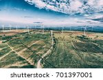 wind turbine from aerial view.... | Shutterstock . vector #701397001