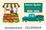 farm shop. local stall market.... | Shutterstock .eps vector #701399059