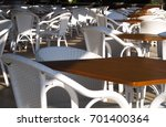 chairs and tables in empty... | Shutterstock . vector #701400364
