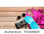 composition with camera ... | Shutterstock . vector #701400835