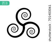 flat triple spiral  | Shutterstock .eps vector #701403061