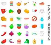 treadmill icons set. cartoon... | Shutterstock .eps vector #701407645