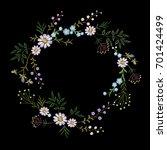 vintage embroidered flower... | Shutterstock .eps vector #701424499