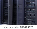 row of supercomputers with... | Shutterstock . vector #701425825