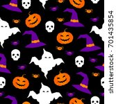 happy halloween seamless... | Shutterstock .eps vector #701435854